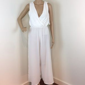Lolah  White Wrap Jumpsuit Made in Italy